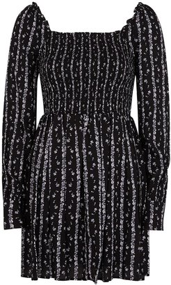 Paige Palmetto Floral-print Shirred Mini Dress