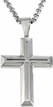 JCPenney FINE JEWELRY Mens Stainless Steel Diamond-Accent Cross Pendant Necklace