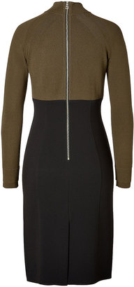 Burberry Colorblock Knit Dress in Olive/Black