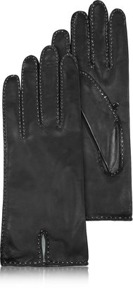 Forzieri Women's Stitched Silk Lined Black Italian Leather Gloves