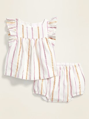 Old Navy Ruffled Metallic-Stripe Top & Bloomers Set for Baby
