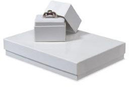 """Container Store 5-1/4"""" x 3-3/4"""" x 7/8"""" h Jewelry Gift Box White"""
