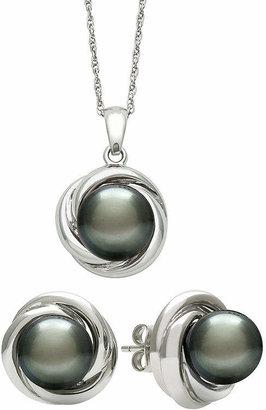 FINE JEWELRY Genuine Tahitian Pearl Love Knot Pendant Necklace & Earring Set