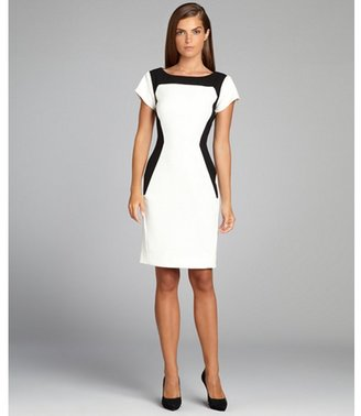 Rachel Roy ivory and black cutout back short sleeve stretch dress