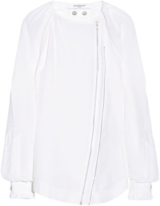Givenchy White Silk-Cady Blouse With Zip Front