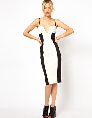 Asos Bandeau Dress In Color Block