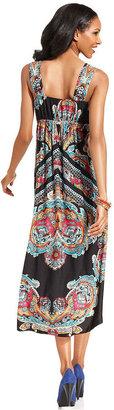 Style&Co. Petite Dress, Sleeveless Printed High-Low Empire-Waist Maxi