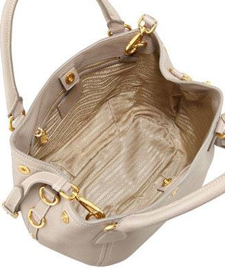 Prada Daino Medium Shoulder Tote Bag, Light Gray
