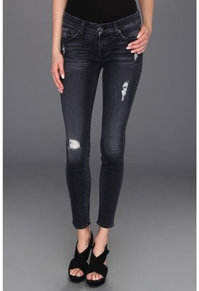 7 For All Mankind The Skinny in Slim Illusion Blue Black Destroyed Women's Jeans