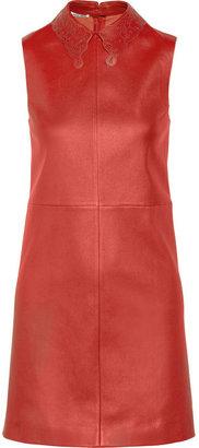 Miu Miu Cutout-collar stretch-leather dress