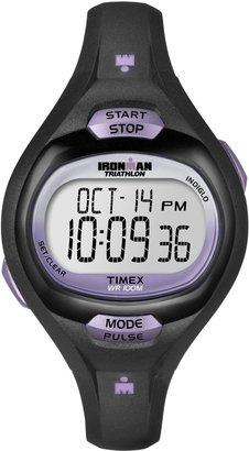 Timex Women's T5K187 Ironman Pulse Calculator Black/Purple Resin Strap Watch