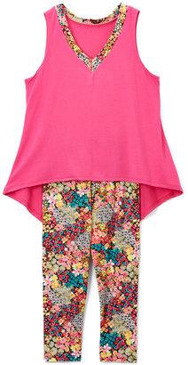 Hot Pink Floral Hi-Low Tank & Leggings