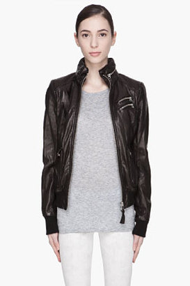Mackage Black high-gloss Liat hooded Leather jacket