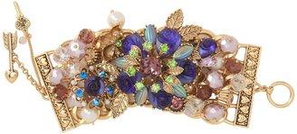 Betsey Johnson Carved Rose Flower Wide Toggle Bracelet (Purple) - Jewelry