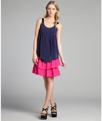Dylan & Rose navy and fuchsia pintucked colorblock ruffle tiered dress