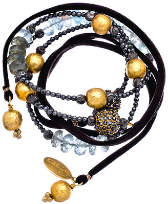 Indulgems Aquamarine Hematite Beaded Suede Wrap Bracelet