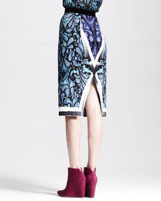 Peter Pilotto Printed Split-Center Pencil Skirt