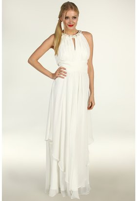 Eliza J S/L Halter Neck Long Bridal Gown w/ Ruched Bodice Waist (Ivory) - Apparel