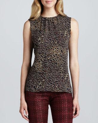 Tory Burch Tanya Abstract Leopard-Print Top
