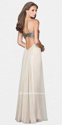 La Femme Strapless Mutli-colored Rhinestone Bodice Prom Dresses