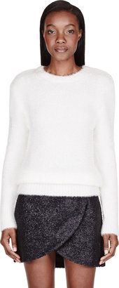 Carven White Fancy Knit Sweater