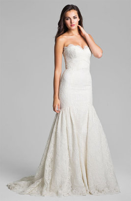 Theia Strapless Embroidered Lace Trumpet Gown