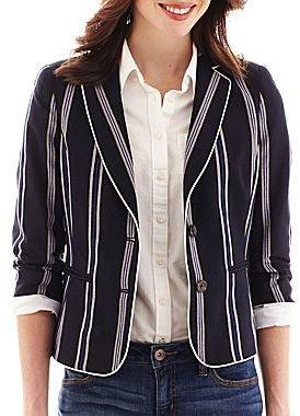 JCPenney jcp 3/4-Sleeve Striped Blazer
