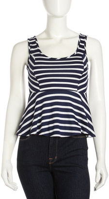 Casual Couture Striped Peplum Tank, Navy/White