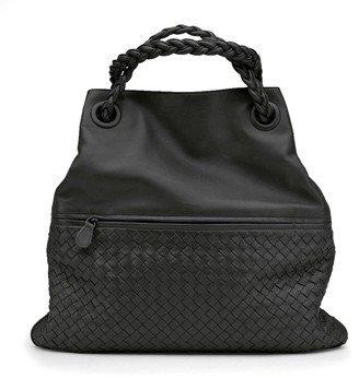 """Bottega Veneta 282931"""" Black Intrecciato Nappa Julie Bag"""