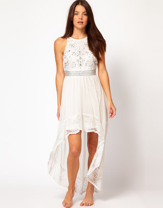River Island Sabreena White Mesh High Low Maxi Dress