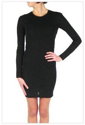 Alexander Wang Matte Jersey Drape Back Long Sleeve Mini Dress in Black