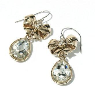 Vera Wang Princess gold tone simulated crystal bow drop earrings