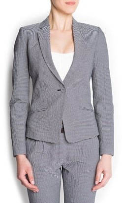 MANGO Striped seersucker blazer