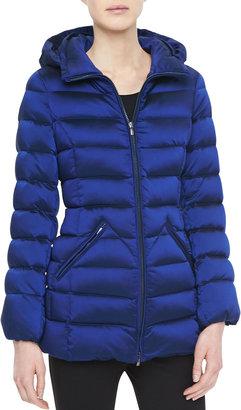 Armani Collezioni Iridescent Puffer Jacket, Cobalt