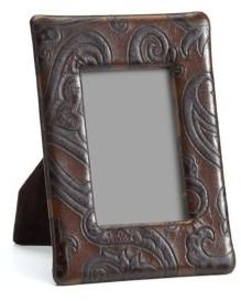 Etro Bette Paisley-Embossed Leather Frame