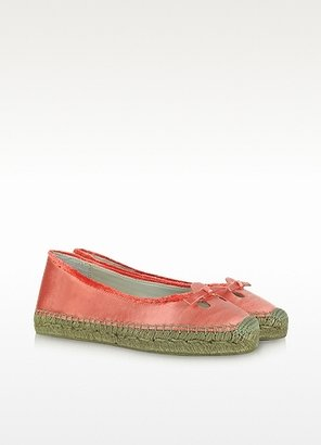 Marc Jacobs Coral Pink Satin Mouse Flat Espadrille