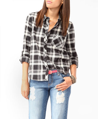 Forever 21 High-Low Plaid Flannel Shirt
