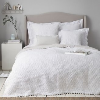 The White Company Brittany Quilt, White Grey, Single