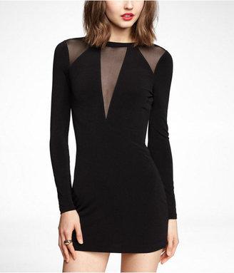 Express Long Sleeve Mesh Insert Mini Dress
