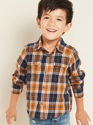 Old Navy Plaid Twill Utility Shirt for Toddler Boys