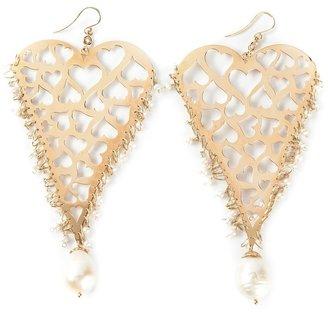18kt yellow gold heart earrings