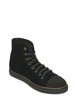 Marc Jacobs Suede And Velvet High Top Sneakers