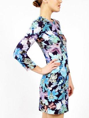 Cacharel Blue Floral Long Sleeve Dress
