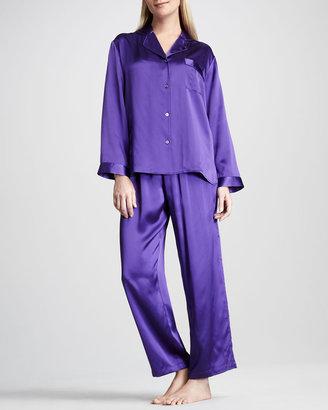 Neiman Marcus Tailored Silk Pajamas, Purple