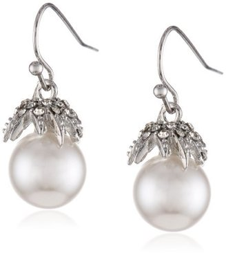 Roman Bride Faux Pearl and Clear Crystal Drop Earrings