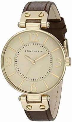 Anne Klein Women's 109168IVBN Gold-Tone and Leather Strap Watch