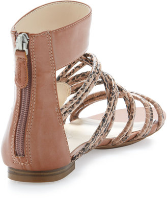 Boutique 9 Snake-Embossed Strappy Sandal, Nude