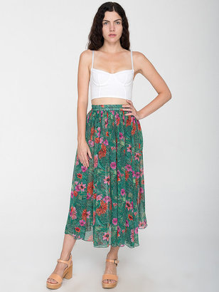 American Apparel Vintage Floral Chiffon Mid-Length Skirt