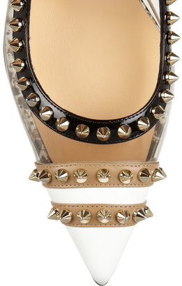 Christian Louboutin Manovra 70 studded leather and PVC slingback pumps
