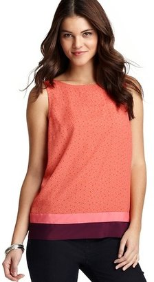 LOFT Dot Print Colorblock Hem Shell